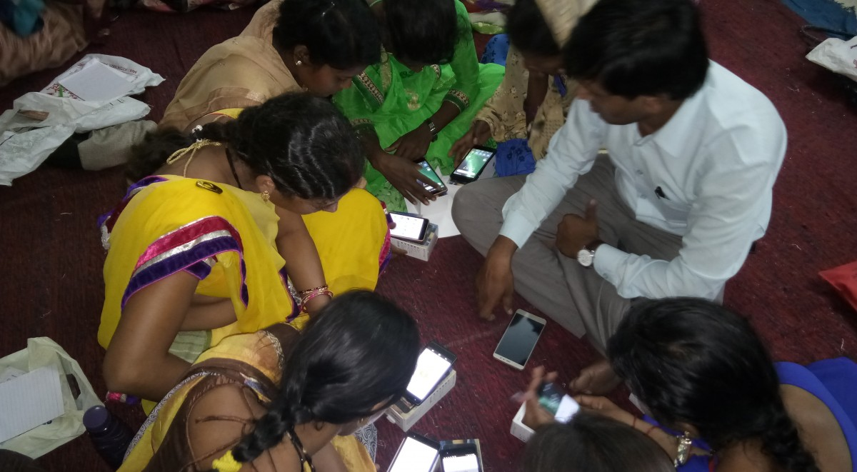 Rural Women and girls learning use of smart phone and internet service during 2 days training in Keolari block, District Seoni